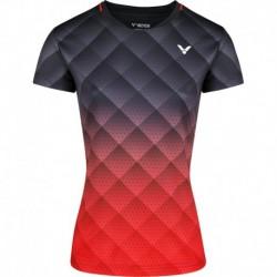 VICTOR Ladies T-Shirt T-14100 C - schwarz-rot