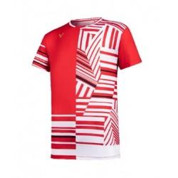 VICTOR T-Shirt T-10002 rot-weiß, Gr. M